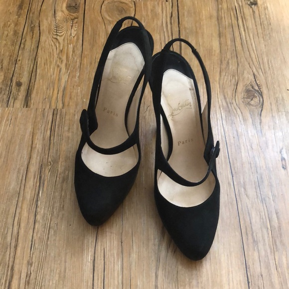 best service 5637e caf1d Christian Louboutin black suede Mary Jane pumps